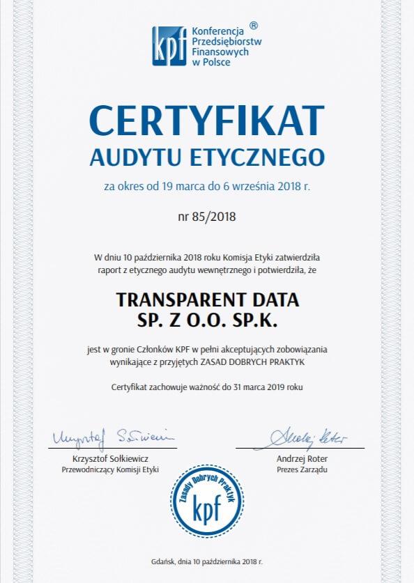 certyfikat audytu etycznego kpf transparent data