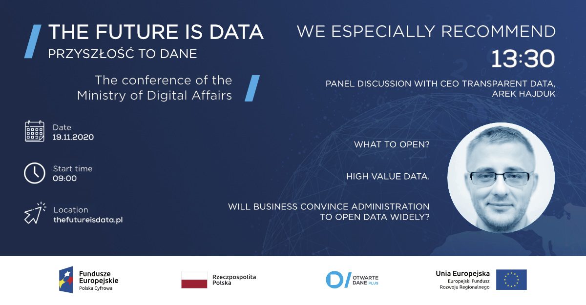 the Future is data internation conference on open data by MInistry of Digital Affairs Poland 2020
