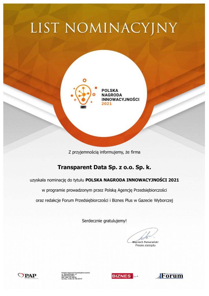 Polska Nagroda Innowacyjności 2021 TRansparent Data